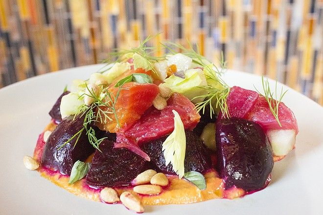 Beets with romanesco, cucumber and pine nuts. - PHOTO BY MABEL SUEN