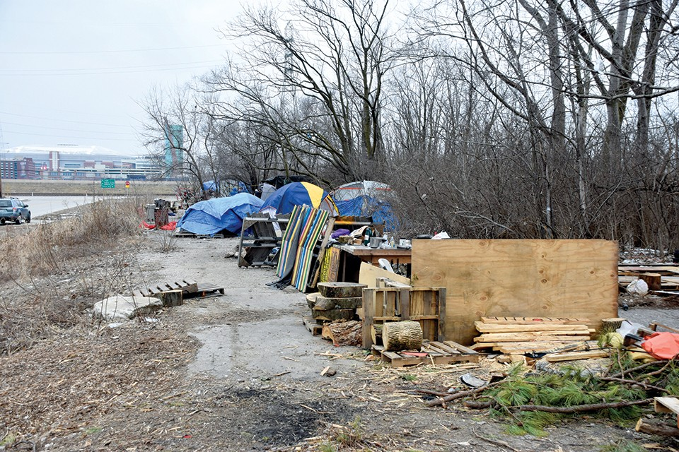 "The front camp sat atop a long concrete slab residents called ""the platform."" - DOYLE MURPHY"