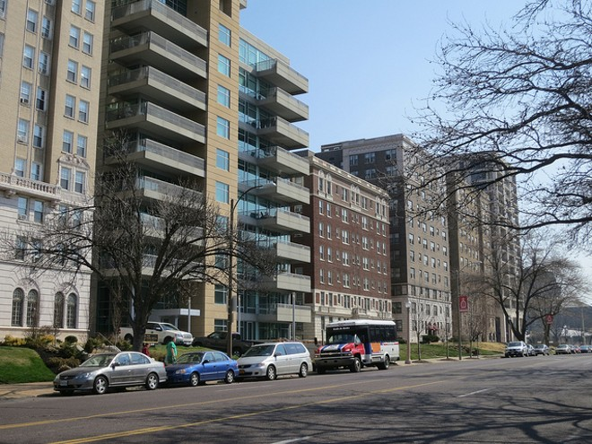 Apartments on Lindell Boulevard in the Central West End — a neighborhood that's increasingly an exception to the city's ultra-affordable rents. - PHOTO COURTESY OF FLICKR/PAUL SABLEMAN