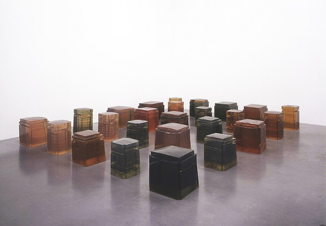 Rachel Whiteread, English, born 1963; Untitled (Twenty-Five Spaces), 1995; resin; variable dimensions, smallest: 16 ½ x 11 x 11 ¼ inches, largest: 16 ½ x 18 1/8 x 20 1/8 inches; Private Collection; Image courtesy the artist/ Gagosian, London/ Luhring Augustine, New York/ Galleria Lorcan O'Neill
