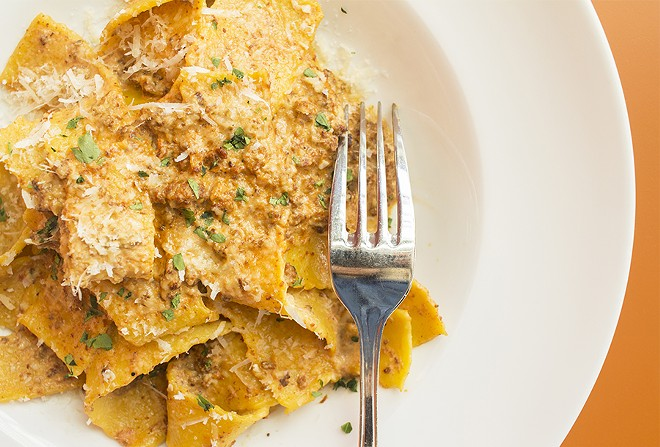 Pappardelle al ragu with classic veal-ragu bolognese. - PHOTO BY MABEL SUEN