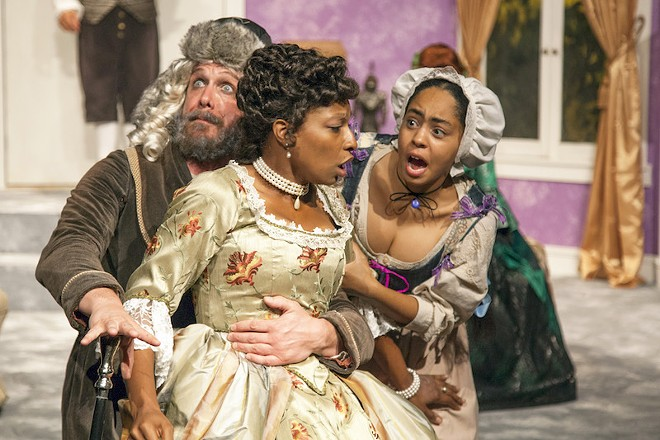 Jeanitta Perkins portrays the beautiful Isabelle, center, with Shane Signorino and Britteny Henry. - PHOTO BY JOHN LAMB