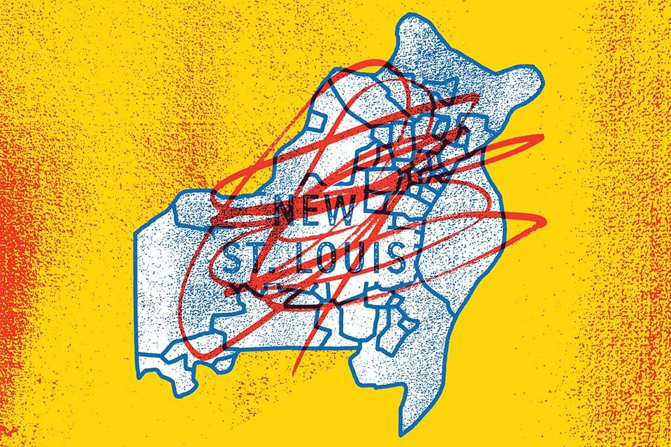 Under Better Together's proposal, the new metro city of St. Louis would grow from 66.2 miles to 588, and boast a population of 1.3 million. - ILLUSTRATION BY TYLER GROSS