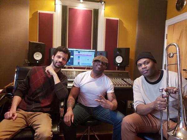 Andrew Stephen, Grover Stewart and Lamar Harris record at Stephen's Eightfold Studios. - VIA THE ARTIST