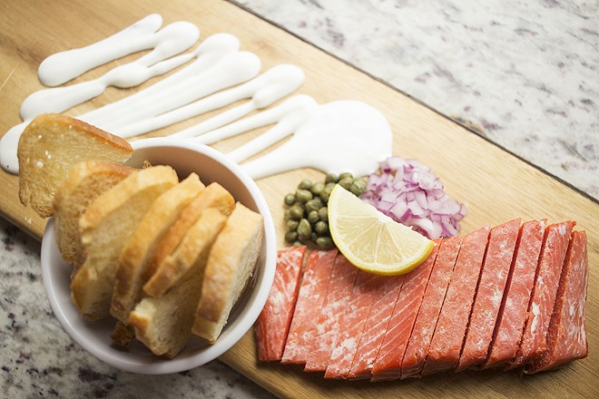 The smoked salmon plate, which features the classic trappings of smoked salmon. - PHOTO BY MABEL SUEN