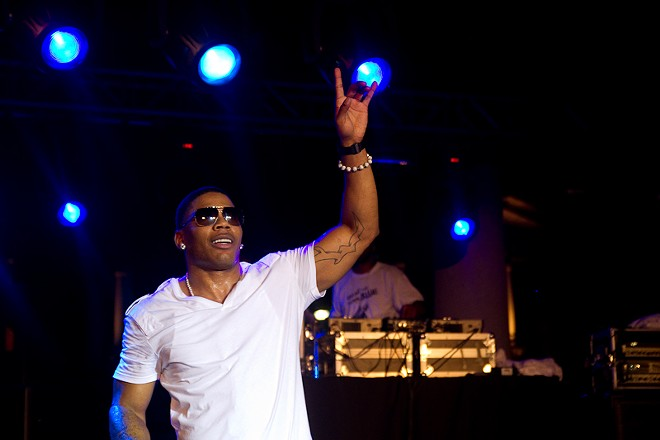 Nelly performing at Kiener Plaza in St. Louis.