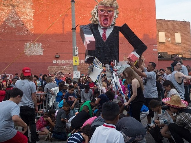 The second of Rodriguez's Trump pinatas was a hit at Cherokee Street's 2016 Cinco de Mayo celebration. - PHOTO BY AUSTIN ROBERTS.