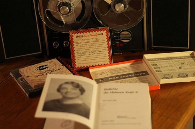 Boxes of reel-to-reel tape preserved the psychic sermons of Carrie Seib. - COURTESY OF LEW BLINK