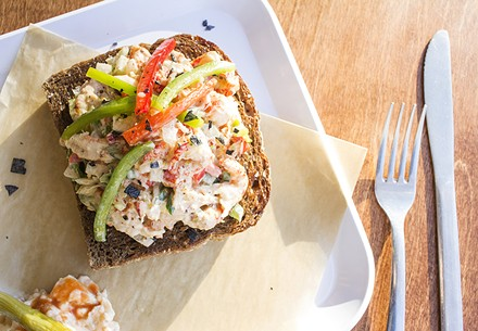 Crawfish-remoulade toast, a Creole spin on the hipster obsession. - PHOTO BY MABEL SUEN