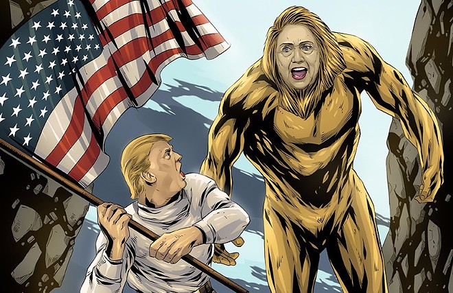 "The show's ""Six Billion Dollar Man v. Bigfoot Hillary"" attraction includes this artwork. - IMAGE VIA HILLARYSHOUSEOFHORRORS.COM"