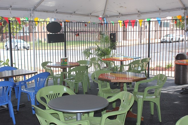 The patio is large and covered for shade. - PHOTO BY SARAH FENSKE