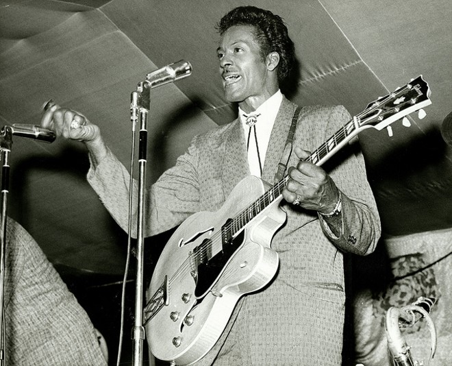 """Chuck Berry performing during """"Chuck Berry's Bandstand."""" Photograph by Irving Williamson, 1965. - COURTESY OF FLICKR/MISSOURI HISTORY MUSEUM"""