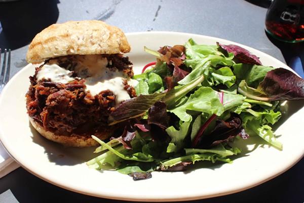 The maple-braised beef brisket sandwich with horseradish mayo. - PHOTO BY LAUREN MILFORD
