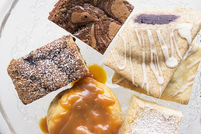 Yolklore features a variety of desserts include housemade pop tarts, coffee cake, brownies and gooey butter cake. - PHOTO BY MABEL SUEN