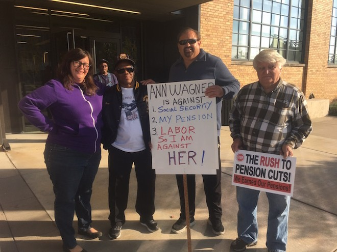 Alison Dreith of NARAL (far left) with some Teamsters, ready to protest outside an event that didn't quite happen yesterday. - COURTESY OF ALISON DREITH
