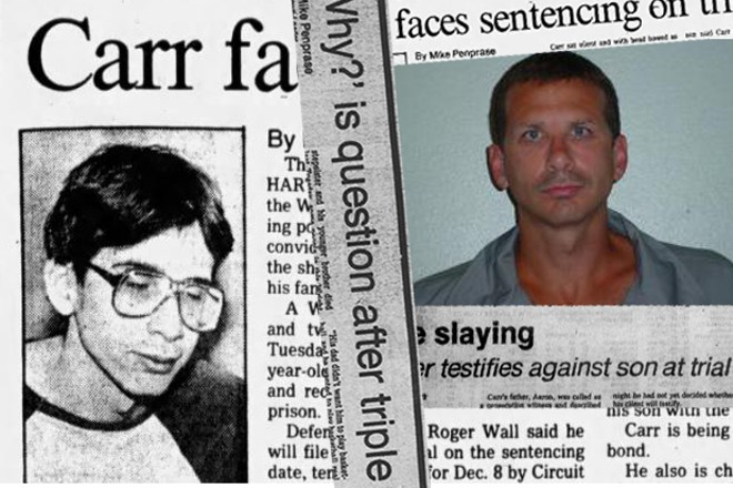 Jason Carr, pictured left in a 1983 news report, and right in a 2004 prison ID photo. - PHOTO ILLUSTRATION BY DANNY WICENTOWSKI