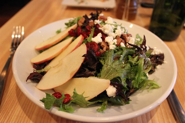 The harvest salad (without chicken and bacon). - PHOTO BY LAUREN MILFORD