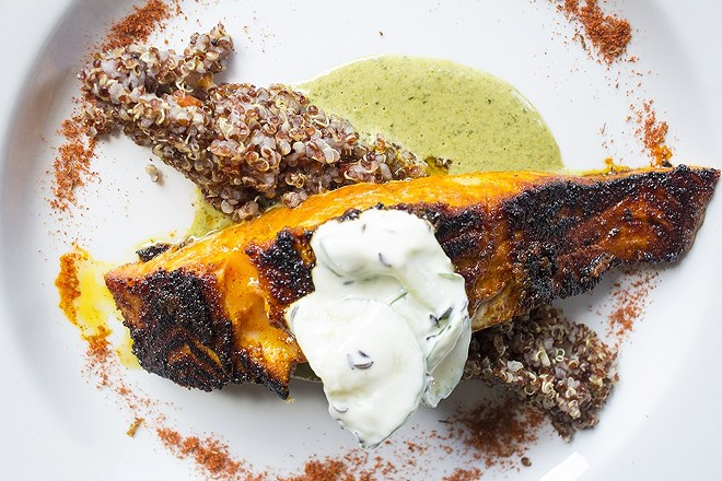 The Tandoori Atlantic salmon (minus that side order of quinoa) is a great option for those on the paleo diet. - PHOTO BY MABEL SUEN