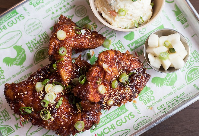 You can get the chicken in a three-piece combo with sides like potato salad and radish kimchi. - MABEL SUEN