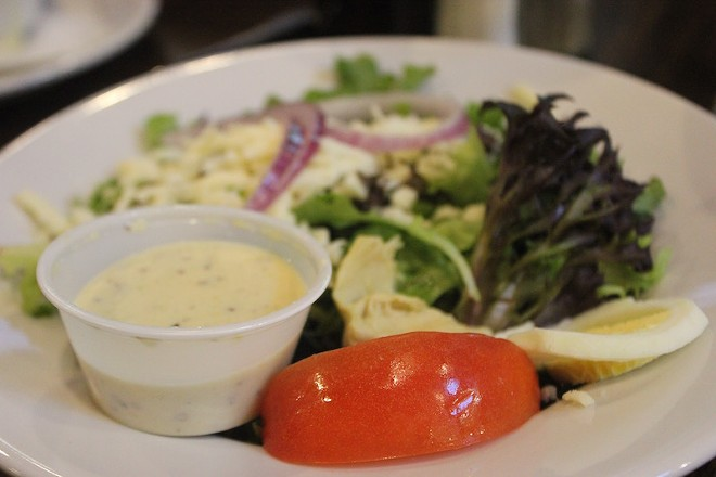 Anchovy-rich Mayfair dressing comes with the house salad. - PHOTO BY SARAH FENSKE
