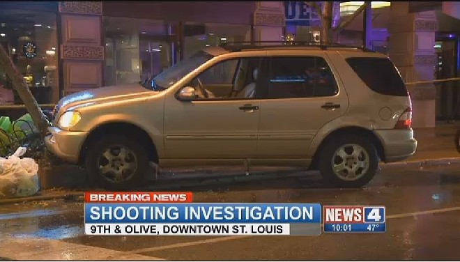 A driver was shot in the head on Tuesday and crashed in downtown St. Louis, according to reports. - IMAGE VIA KMOV