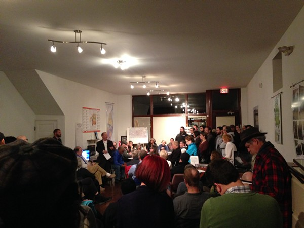 Shaw residents meet on November 30 to discuss installing cameras to combat crime. - PHOTO BY DOYLE MURPHY