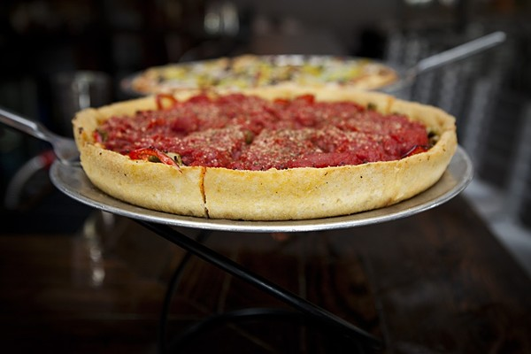 Pi Pizzeria is famous for its deep-dish pies — but it's also a friendly spot for a family. - PHOTO BY JENNIFER SILVERBERG