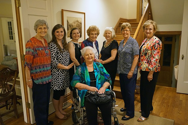 The women who fought Ed Martin, from left: Eunie Smith, Glyn Wright, Anne Schlafly Cori, Rosina Kovar, Shirley Curry, Carolyn McLarty and Cathie Adams, with Pat Andrews seated. - COURTESY OF EUNIE SMITH