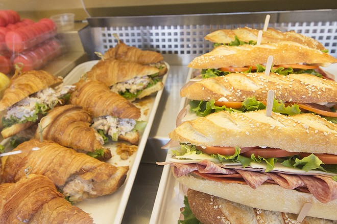Pre-made sandwiches await hungry customers. - PHOTO BY MABEL SUEN