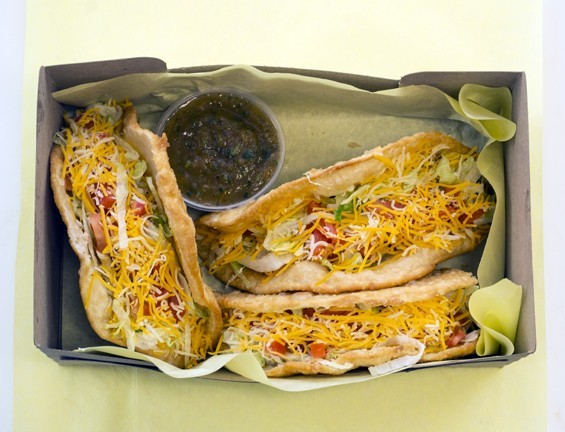 """Fort Taco's """"puffy tacos."""" - PHOTO BY MABEL SUEN"""