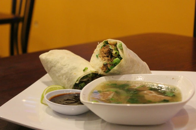 """The """"Phorito"""" at Pearl Cafe blends the Vietnamese classic with a Mexican-style burrito. - CHERYL BAEHR"""