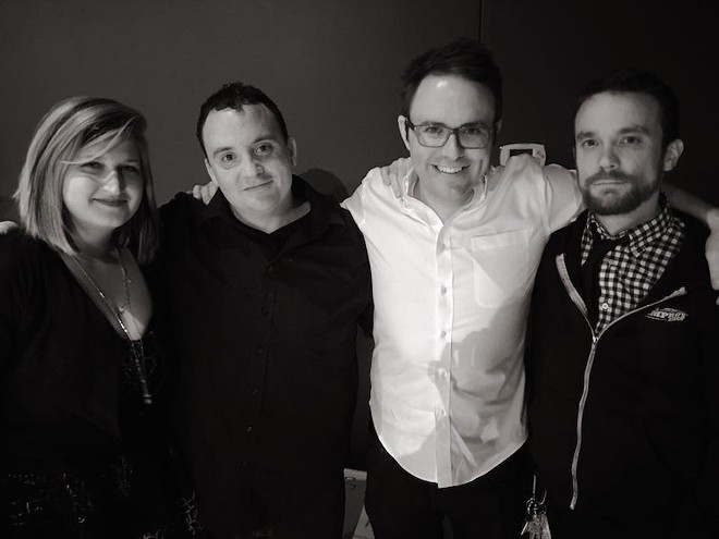 The Improv Shop founder Kevin McKernan (third from left) with, from left, colleagues Annie Niehoff (bartender/performer), John Langen (bar manager/teacher/performer) and Andy Sloey (general manager/teacher/performer). - COURTESY OF THE IMPROV SHOP