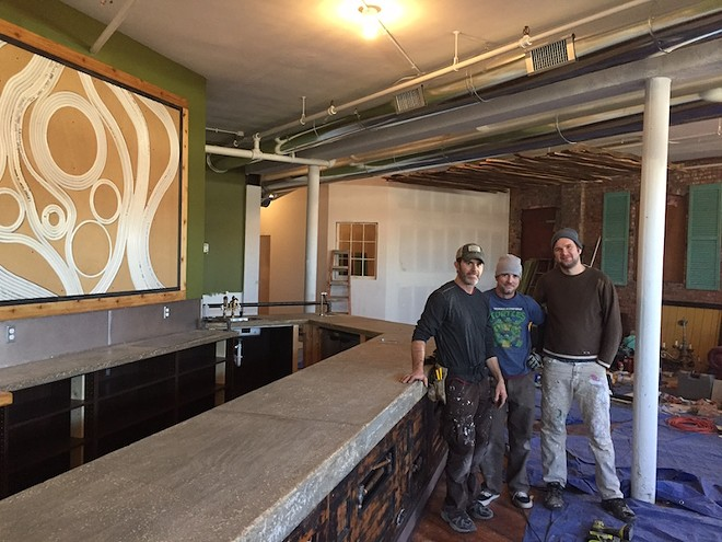 Ricardo Hayes, left, with future colleagues Wes Sachse and Jacob Wachsmuth, inside the space they are renovating. - PHOTO BY SARAH FENSKE