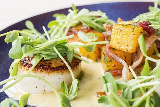 Seared scallops at J. McArthur's. - PHOTO BY MABEL SUEN