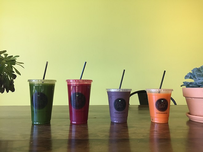 "The ""Sweet Greens,"" ""We Got the Beet,"" ""Blue Chocolatta"" and ""Orange You Glad"" are among popular items."