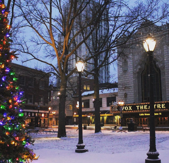 The Fabulous Fox is already beautiful. The snow (and the Christmas tree) are just a bonus. - PHOTO COURTESY OF INSTAGRAM / FOXTHEATRESTL.