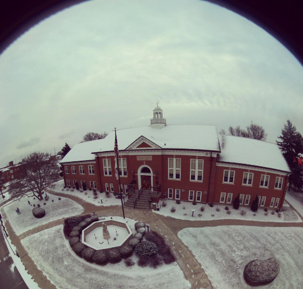 Is it the Collinsville Library or a snow globe? You decide. - PHOTO COURTESY OF INSTAGRAM / COLLINSVILLELIBRARY.