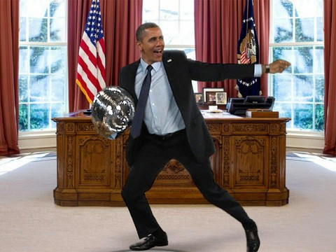 A still from a joke video that was used on The Ellen DeGeneres Show, one of the first places that the President danced for a national audience.