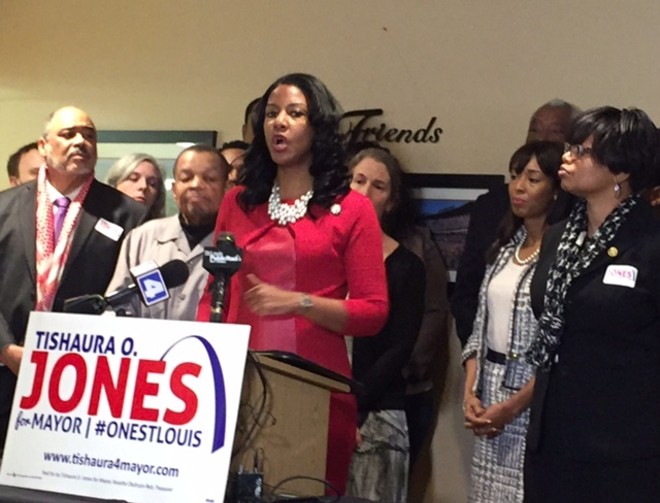 Flanked by supporters including state Rep. Cora Faith Walker (right) and state Sen. Jamilah Nasheed (far right), Tishaura Jones addresses the press. - PHOTO BY SARAH FENSKE