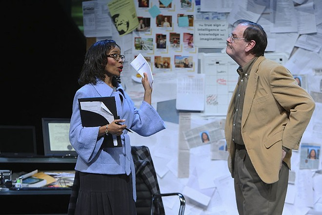 John Contini (left) portrays Mike DiMaggio, who butts heads with high school principal Beverly Long (Cherita Armstrong, right). - STEWART GOLDSTEIN