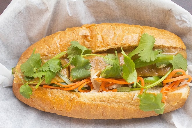 The banh mi tofu with peanut sauce. - PHOTO BY MABEL SUEN