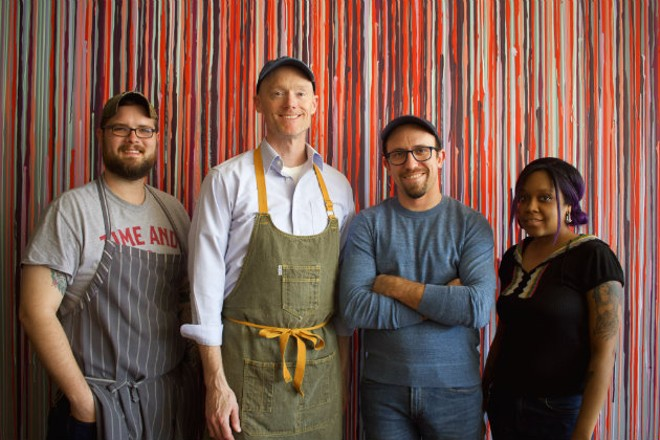 Sous chef Justin Bell, chef and owner Rob Connoley, bar manager Chris Voll and bartender Kelsey Shelton. - CHERYL BAEHR