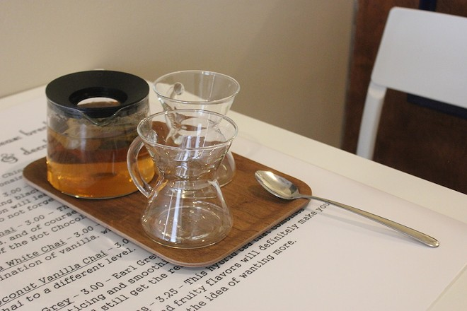 Tea ranges from $3 to $3.75. It's served in the shop in 20-ounce pots. - PHOTO BY SARAH FENSKE