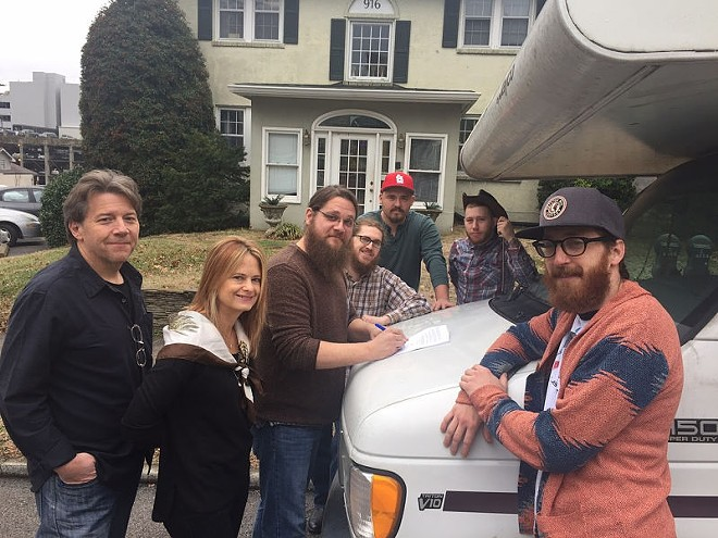 L to R: Garry West (Compass co-founder), Alison Brown (Compass co-founder), Ryan Murphey (banjo), John Brighton (fiddle), Rob Kindle (guitar), Jesse Farrar (upright bass) and Justin Wallace (mandolin) - PHOTO VIA COMPASS RECORDS