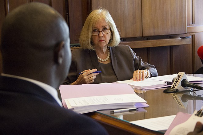 Mayor Lyda Krewson listens to Board President Lewis Reed during Tuesday's meeting of the Board of Estimate and Apportionment . - DANNY WICENTOWSKI