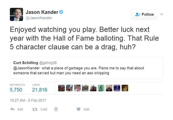 Jason Kander and Curt Schilling exchange pleasantries. - IMAGE VIA TWITTER