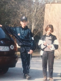 The author and her brother in Europe, waiting for permission to come to the U.S. - COURTESY OF SEJLA GRAHOVIC
