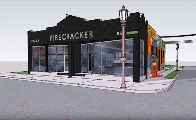 Firecracker Pizza & Beer will open in the Grove this spring. - RENDERING BY NICK ADAMS OF MADEMAN DESIGN