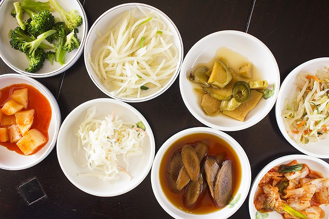 Banchan includes marinated vegetables such as chayote, kimchi, broccoli, burdock and beansprouts. - PHOTO BY MABEL SUEN