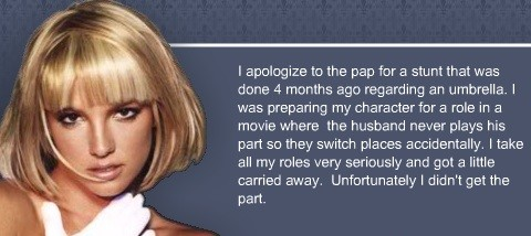 The apology issued on Spears' website